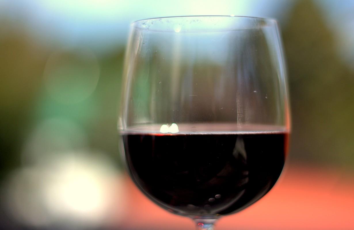 Glass of dark wine