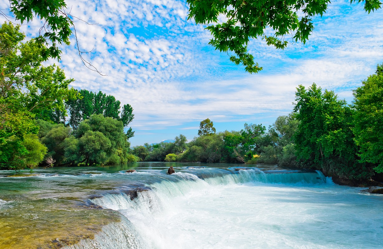 Amazing view of Manavgat waterfall in Antalya, Turkey. Sunset day