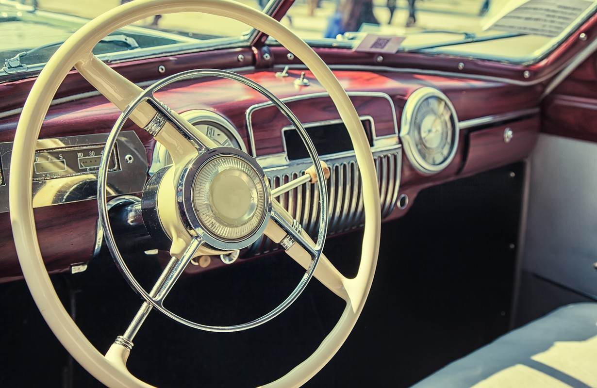 Interior of a classic vintage car