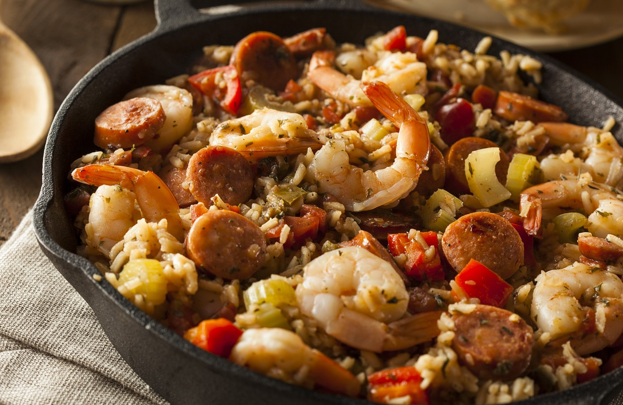 Spicy Homemade Creole dish with Sausage and Shrimp