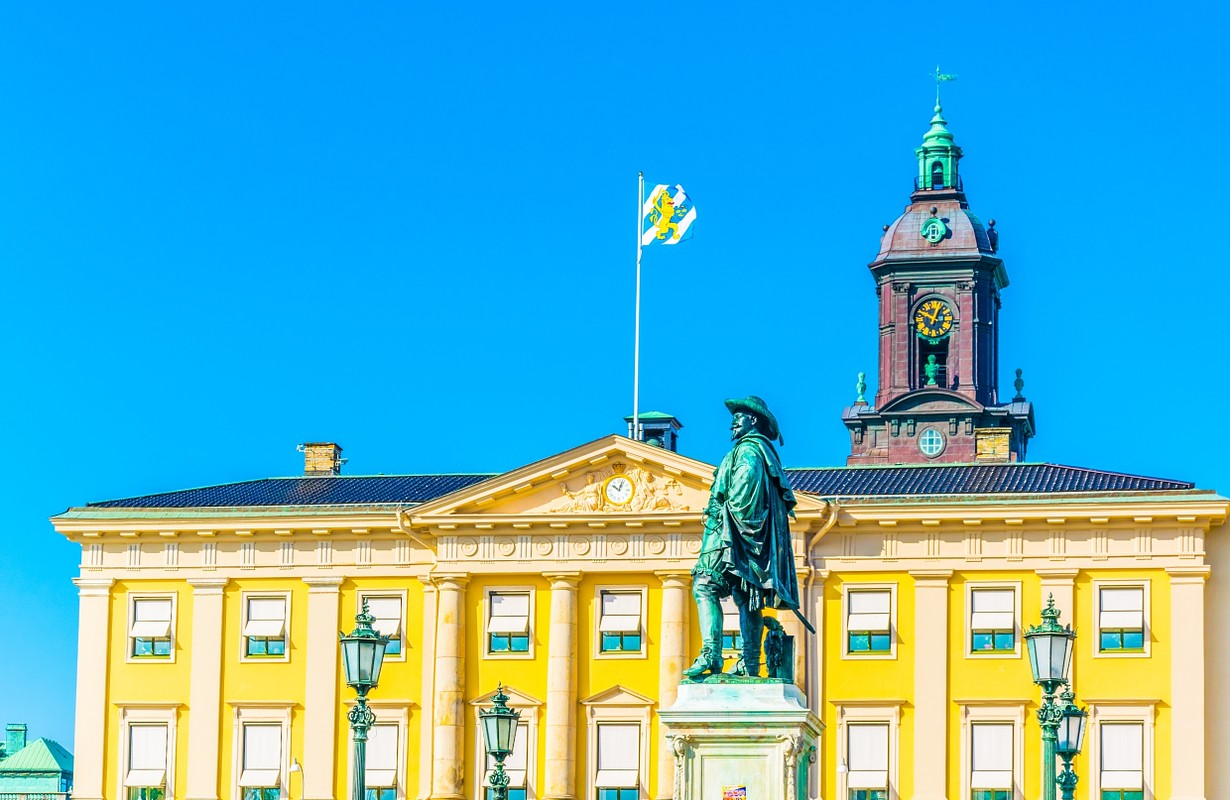 View of a the gustav adolf square in Goteborg, Sweden.