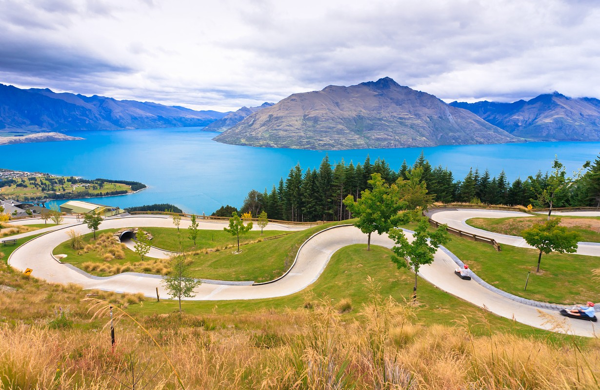 Luge track with beautiful lake and mountain at Skyline, Queenstown, New Zealand