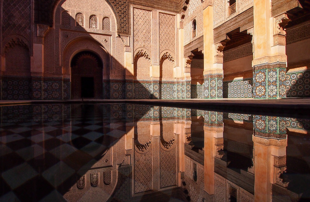 Morocco Marrakesh Ali Ben Youssef Medersa Islamic school.