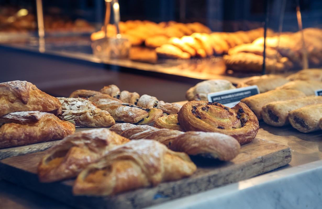 Pastries on bakery window