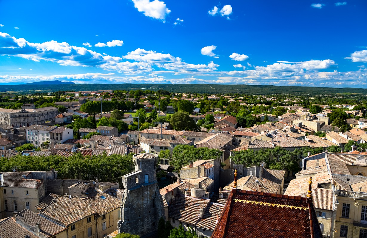 Views of the countryside of the Uzes and the castle of the Duke of Uzes in the Landuedoc region of France - Image
