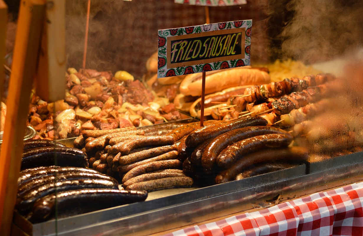 fried sausages at budapest great market hall