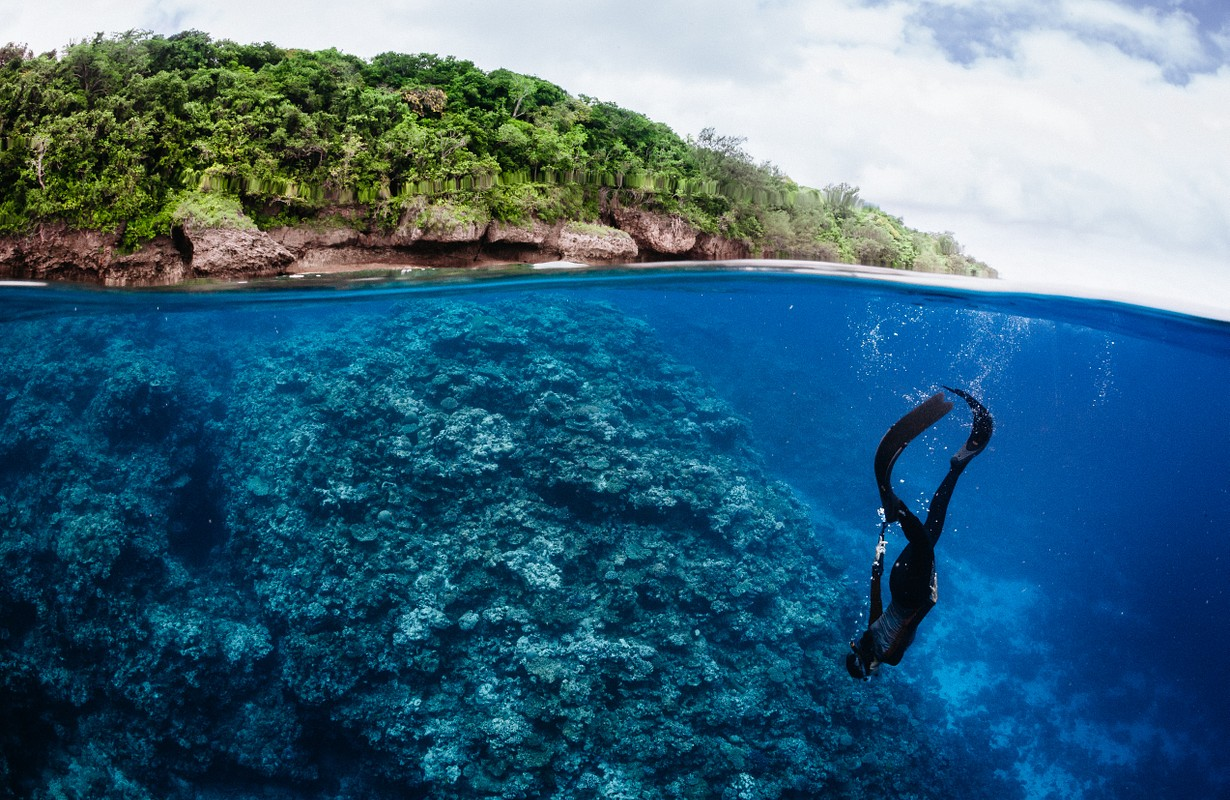 Girl snorkeling towards coral reef - top with palm trees and underwater blue water