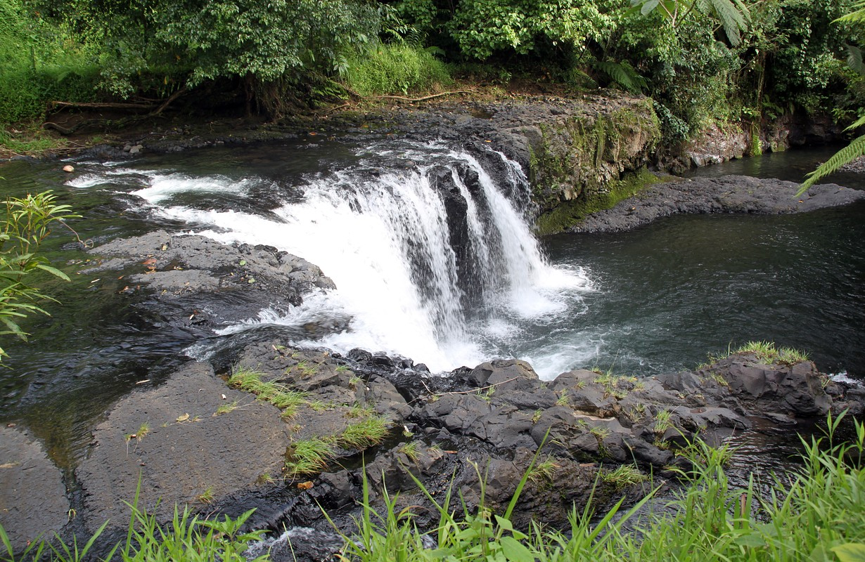 River and waterfall in Upolu island, Samoa