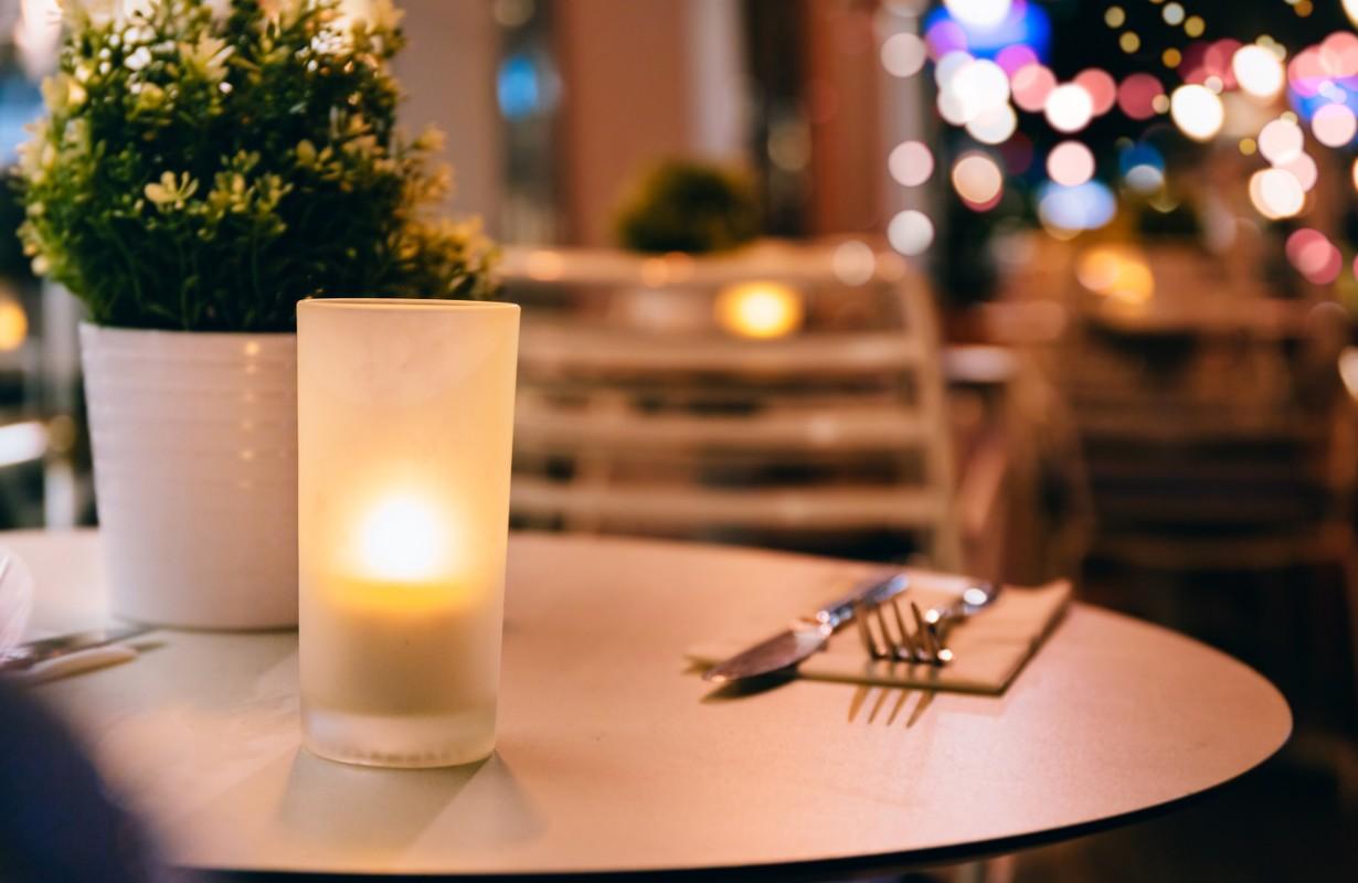 elegant restaurant with lights
