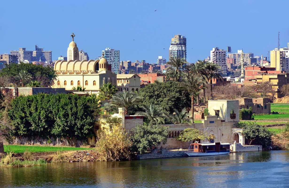 View on the Coptic Orthodox Church at Nile coast in Cairo, Egypt