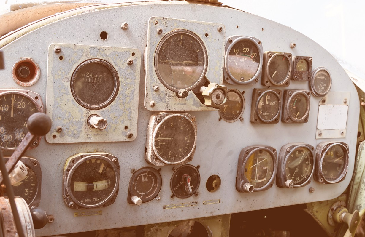 Detail of a old airplane cockpit at war museum for tourist learning