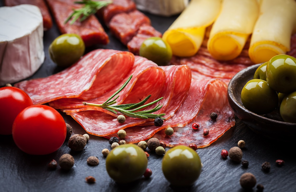 Meat and cheese deli foods