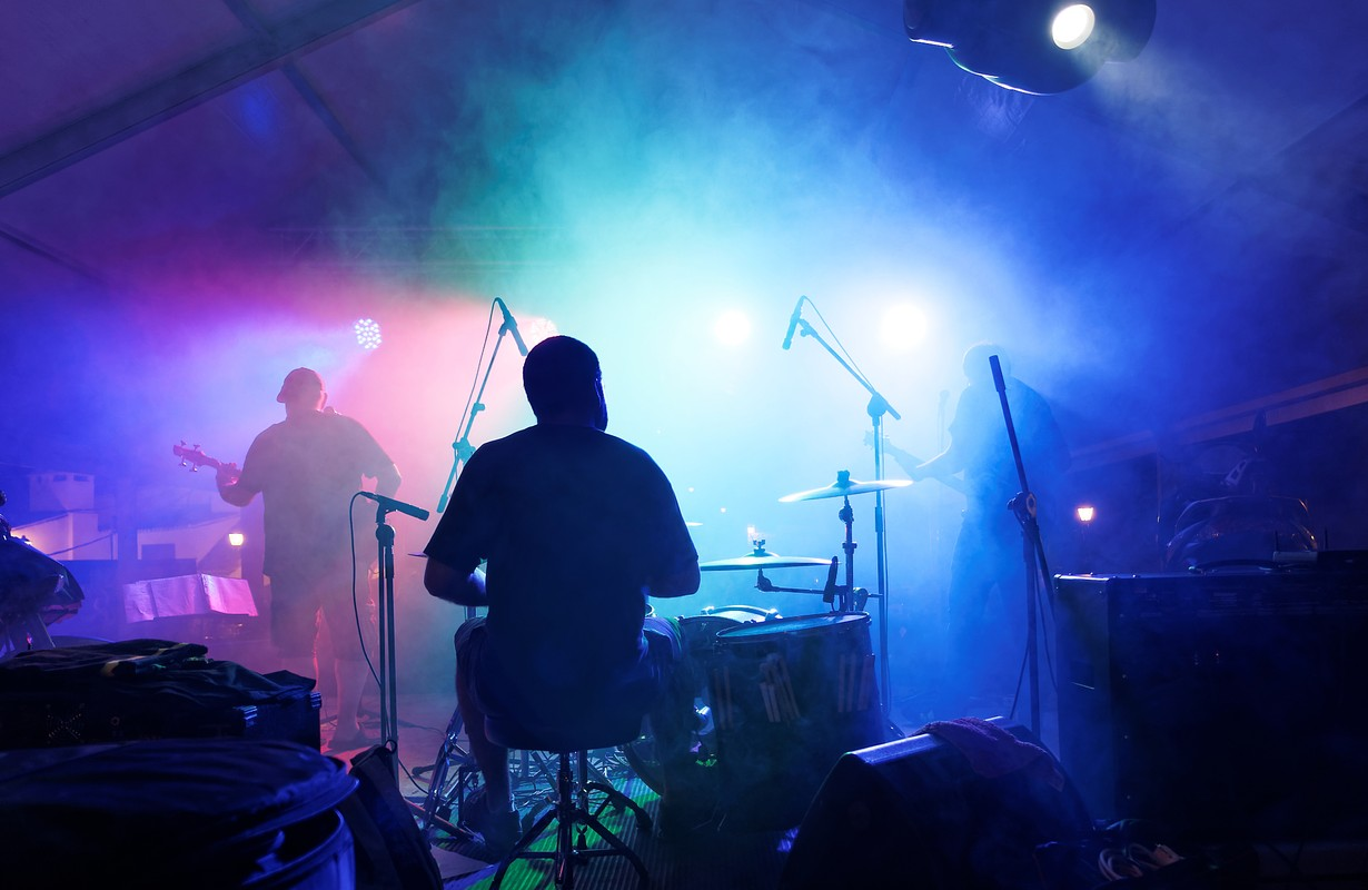 band playing in a club