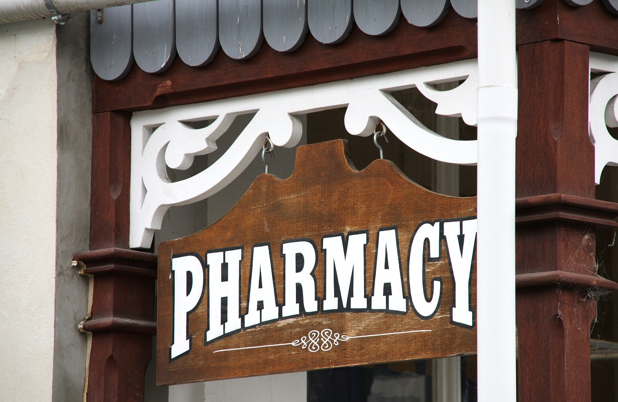 Vintage PHARMACY sign in historic town of Arrowtown, New Zealand