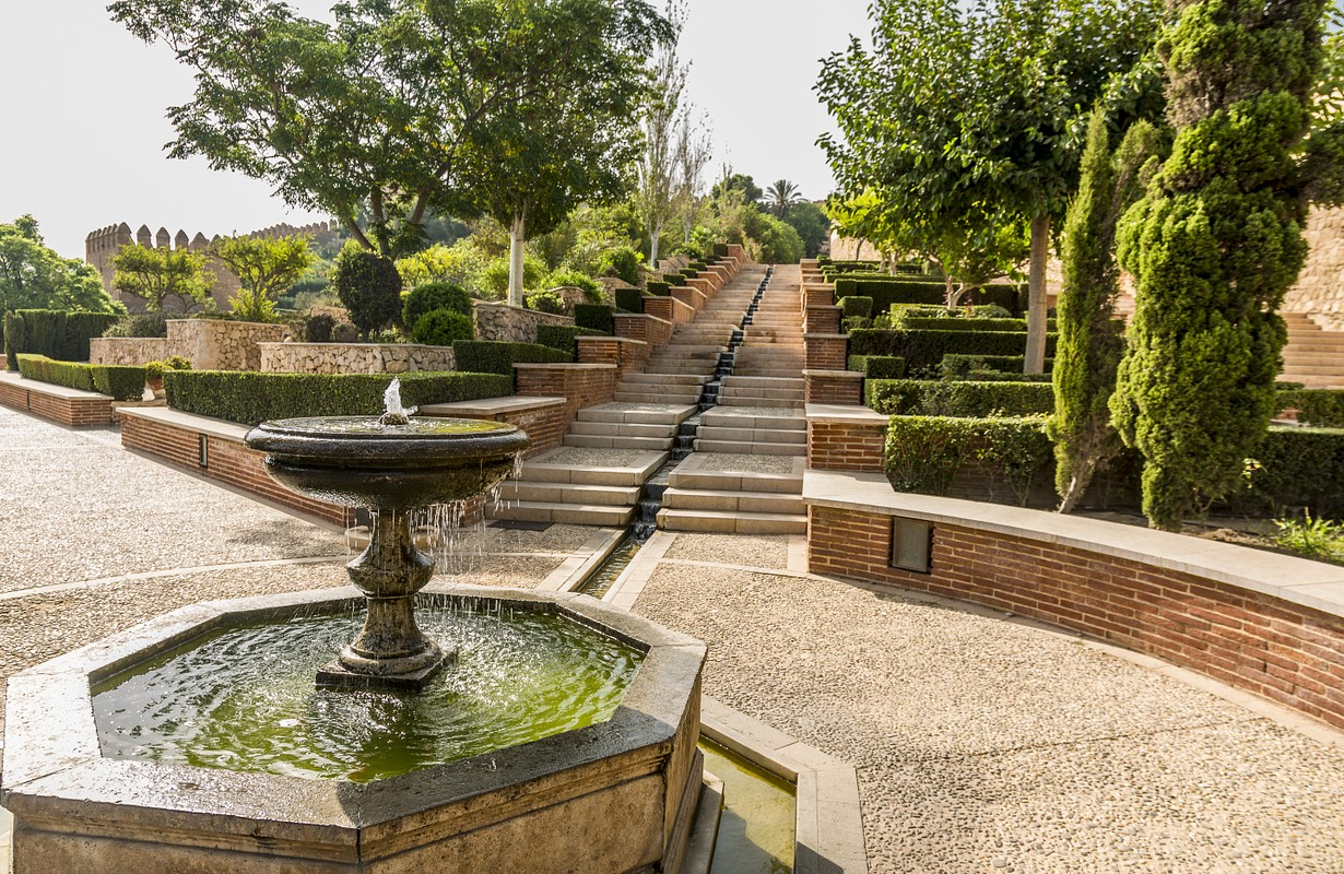 Are the gardens and fountains of La Alcazaba monument located in Almeria (Spain). A fortress built by the Arabs to protect Christians