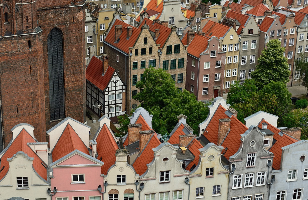 Poland, View on the old city in Gdansk is located at the Baltic sea