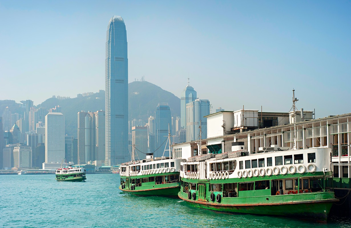 Traditional ferry boat at Kowloon island. Hong Kong