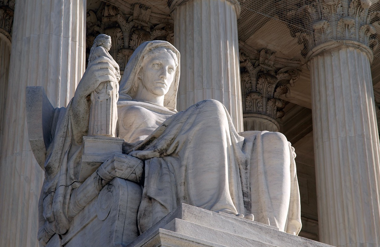 "Historic United States Supreme Court Building Statue, entitled ""Contemplation of Justice""."