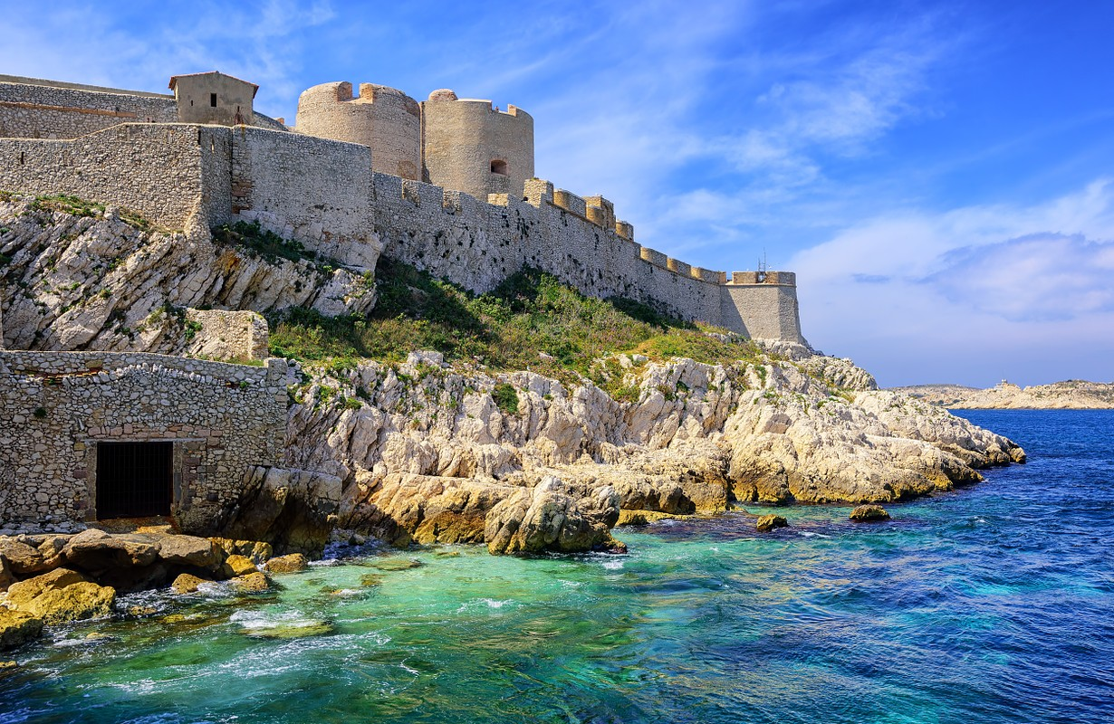 """Chateau d'If castle on an island in Marseilles, France, famous through Dumas novel """"The Count of Monte Cristo"""""""