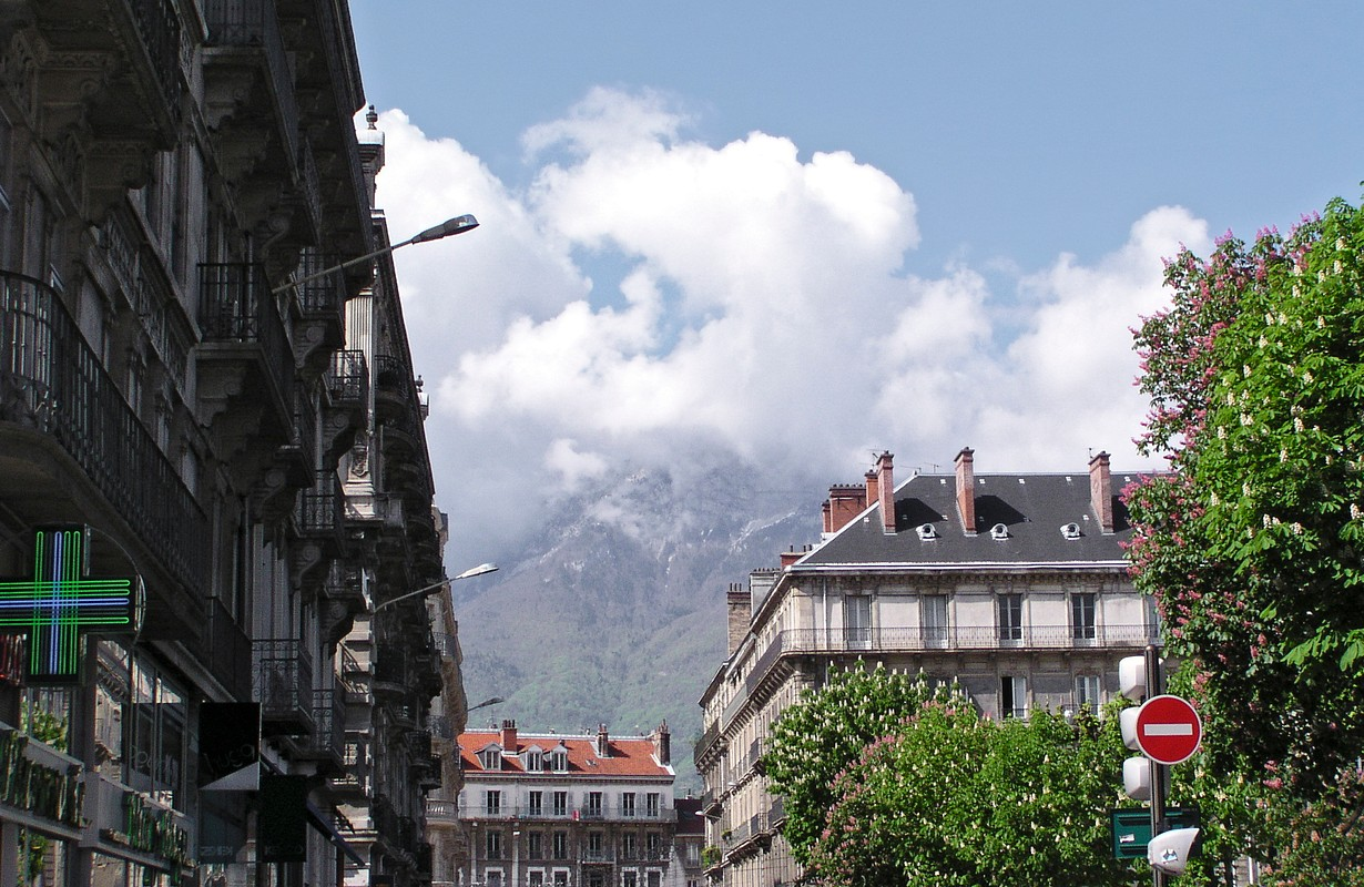 Grenoble urban scene among the mountains in Spring