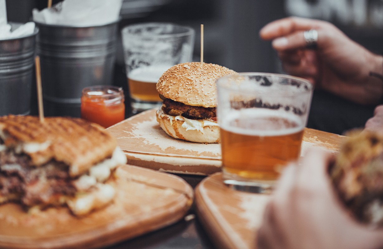 Burger and beer in a restaurant