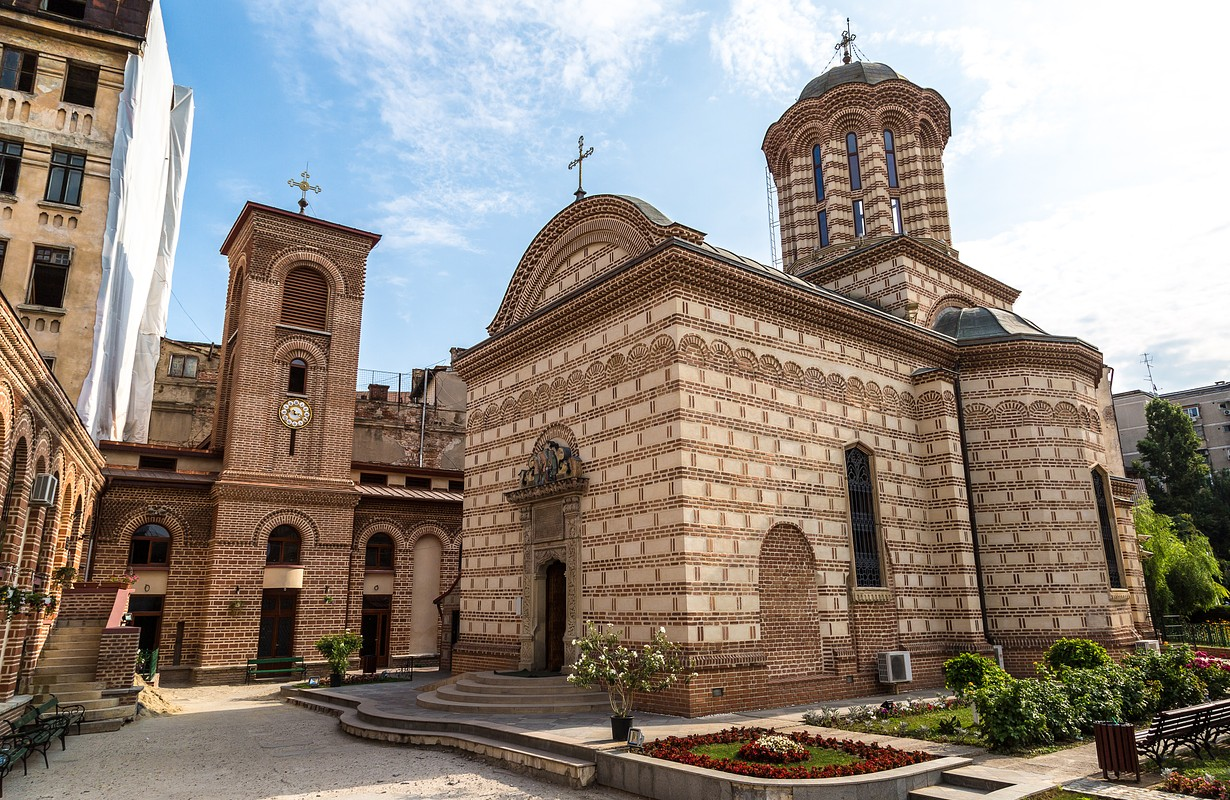 Curtea Veche the oldest church in a summer day in Bucharest, Romania