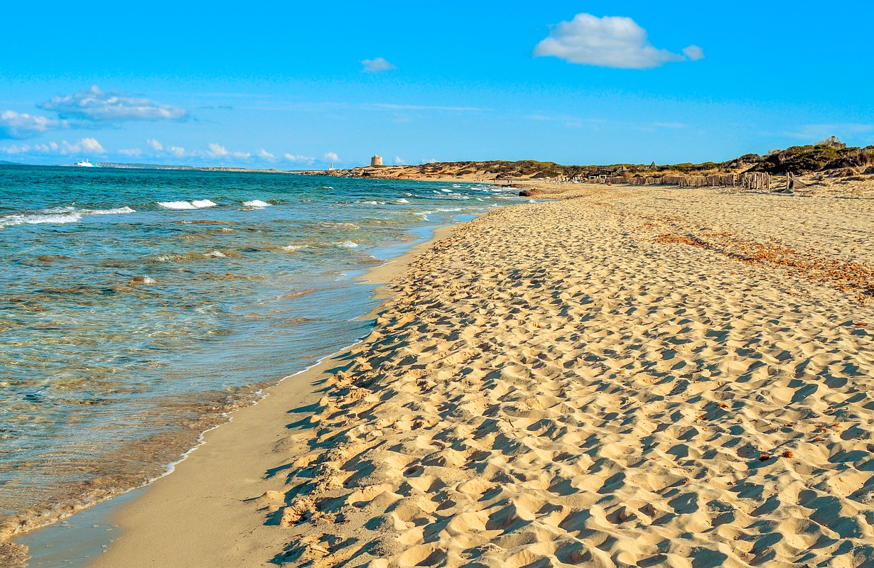 panoramic view of the Es Cavallet beach, in Ibiza Island, Spain, and the neighboring Formentera Island in the background