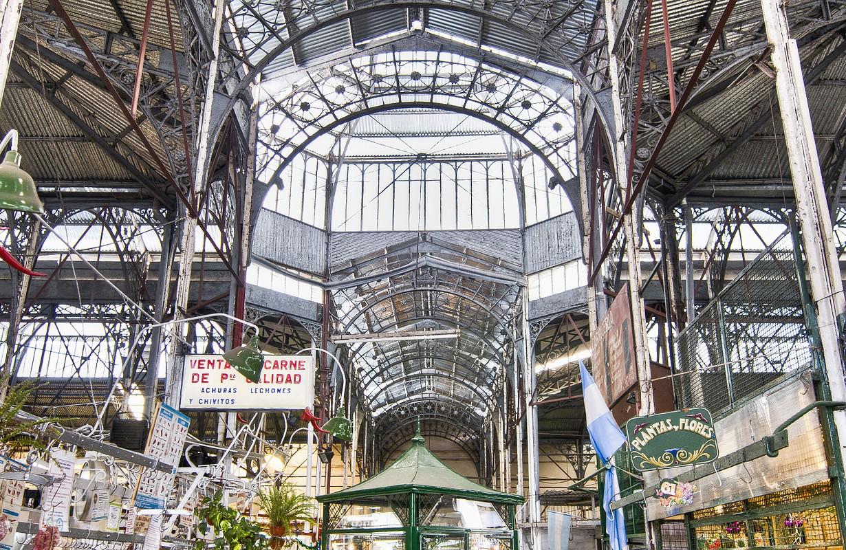 San Telmo market interior metallic structure at Buenos Aires, Argentina