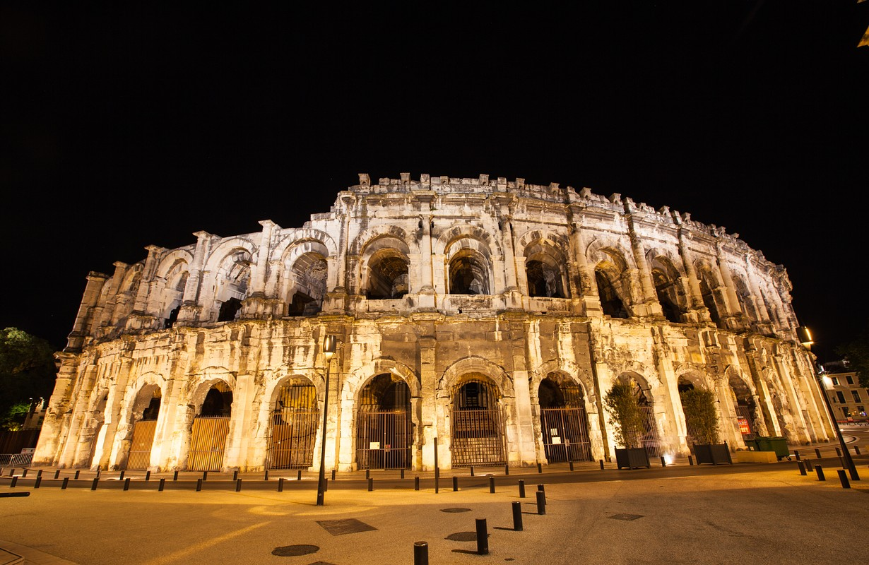 night time view of Place des Arenes, Nimes France - Picture