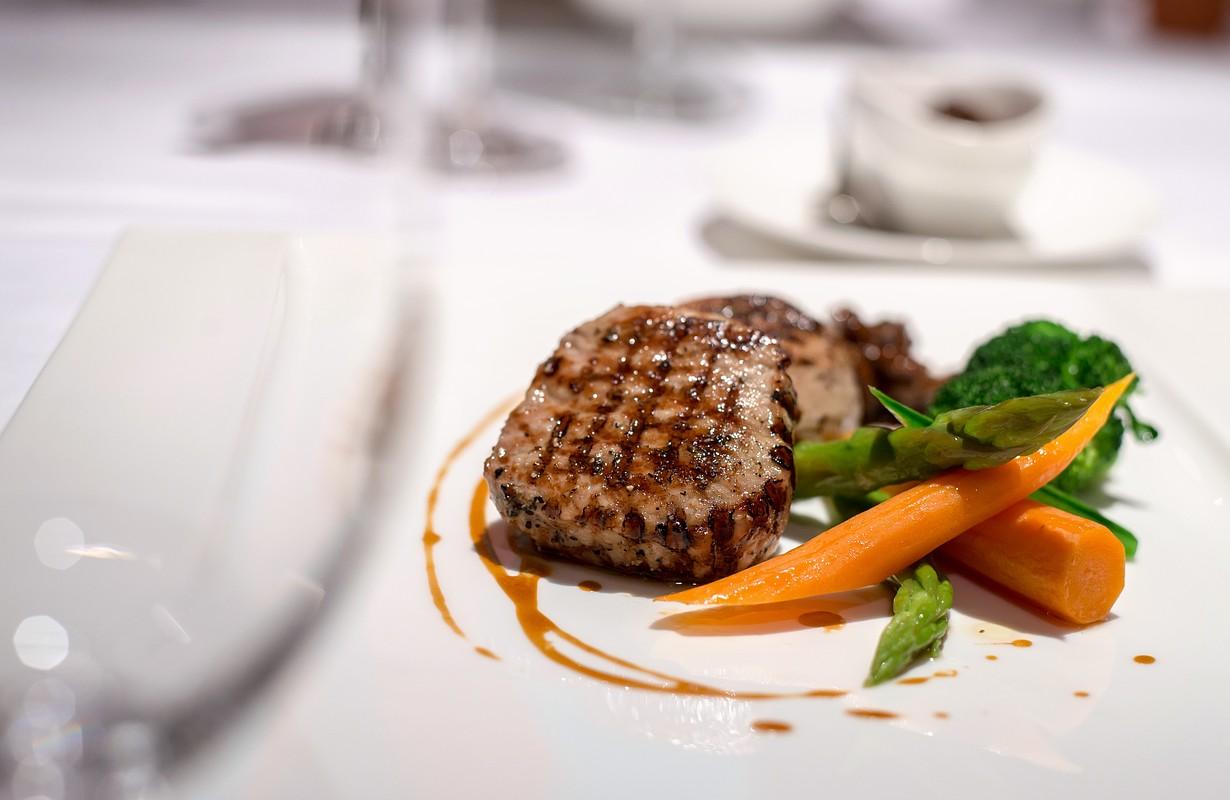 Beef steak in fine dining restaurant