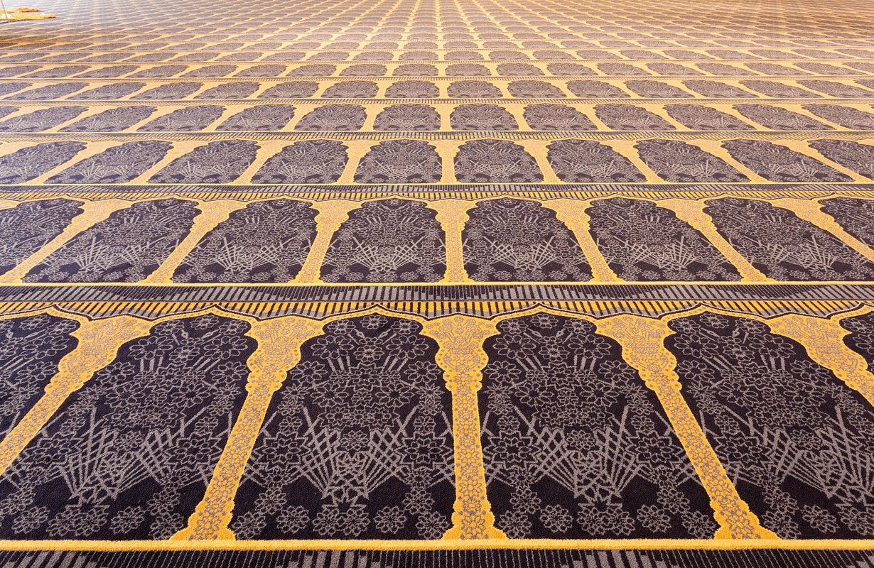 Beautiful carpet inside of the Grand Mosque in Kuwait City