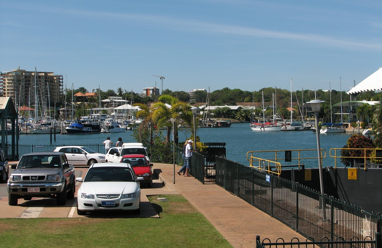 Looking across the lock gates to Cullen Bay towards Darwin City.