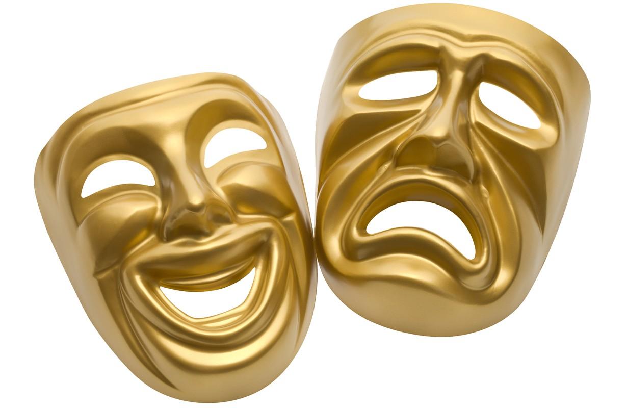 Theater masks on a white background - Atlanta, Georgia