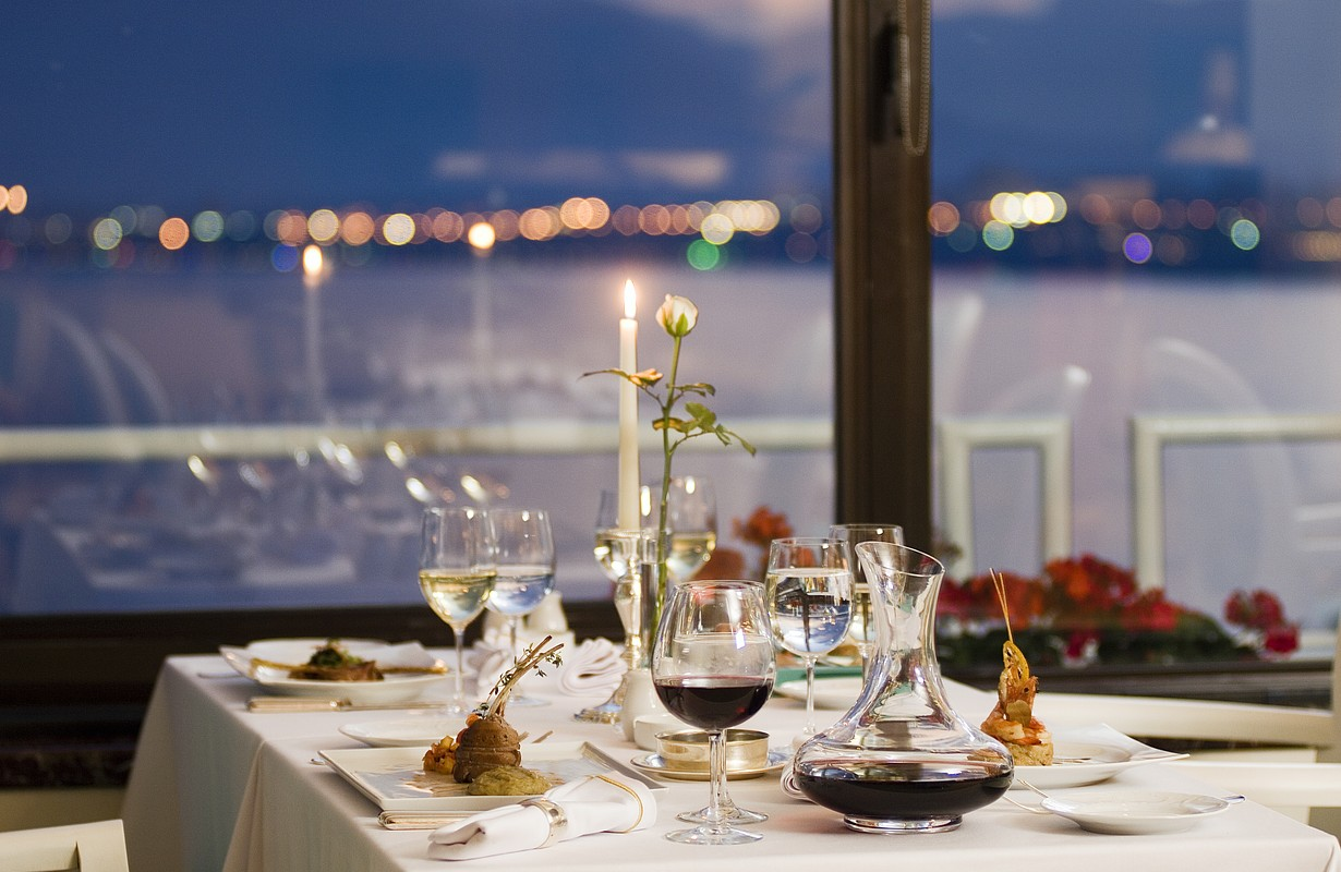 Fine restaurant dinner table with a sea view - Indian Shores, Florida