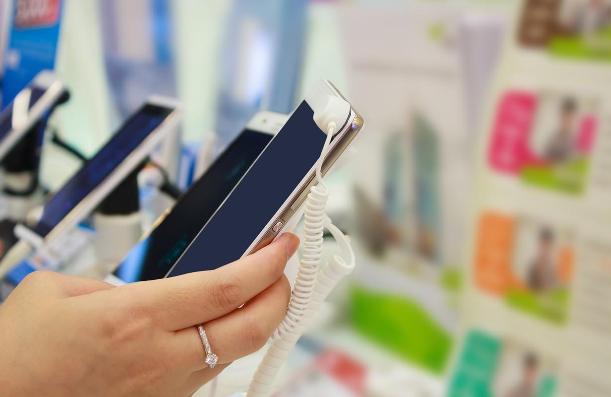 mobile smartphone in store