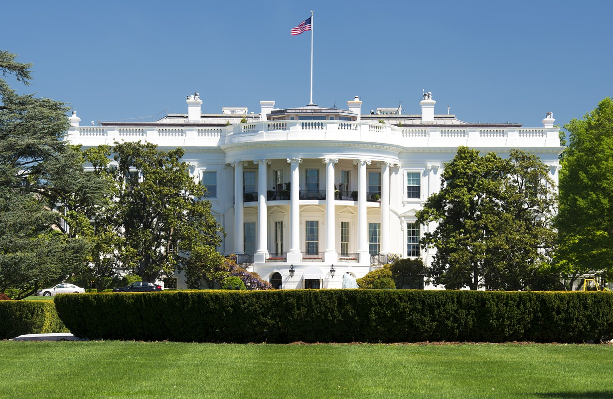 White House on deep blue sky background