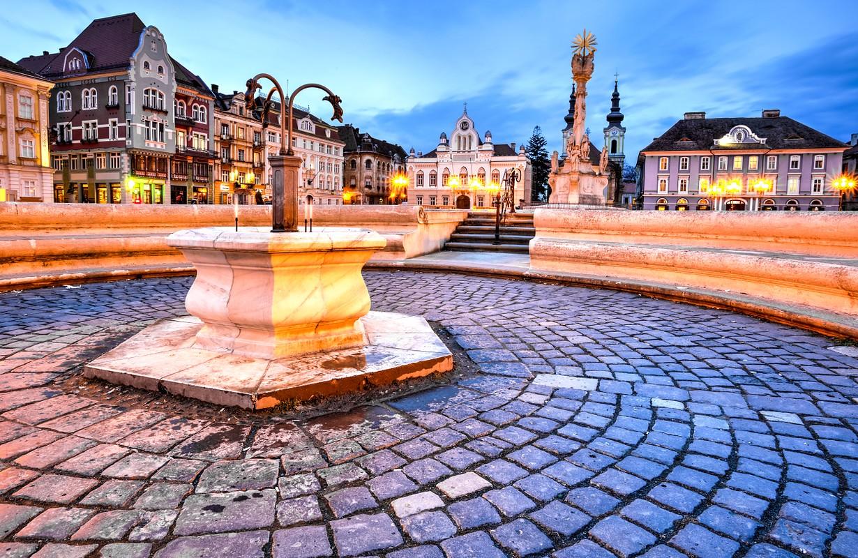 Union square or Unirii Square is the main square of the city of Timisoara, Romania