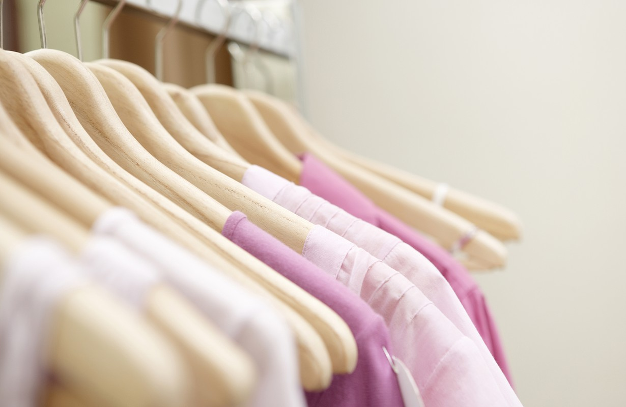 Clothes in a rack
