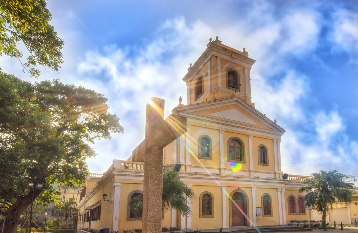 Beautiful view of The Our Lady of Carmel Church located on the island of Taipa, Macau