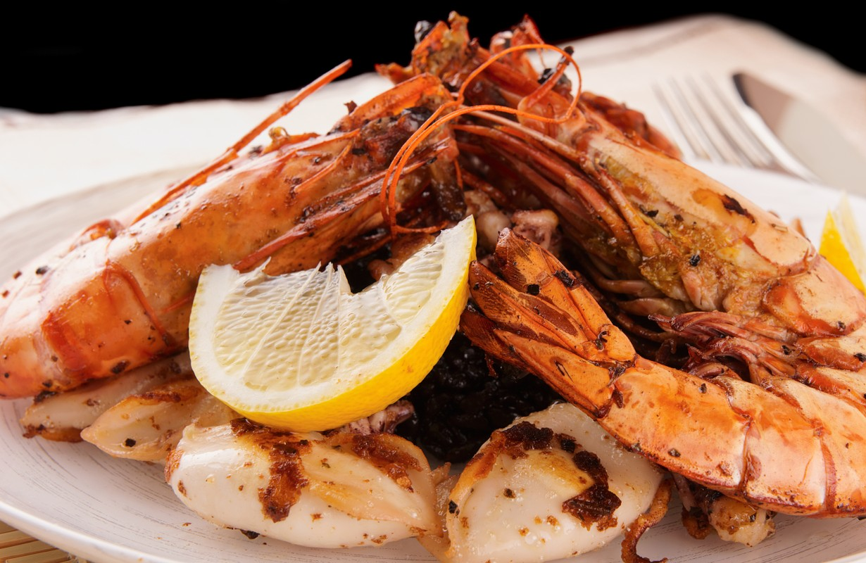 Seafood with slice of lemon