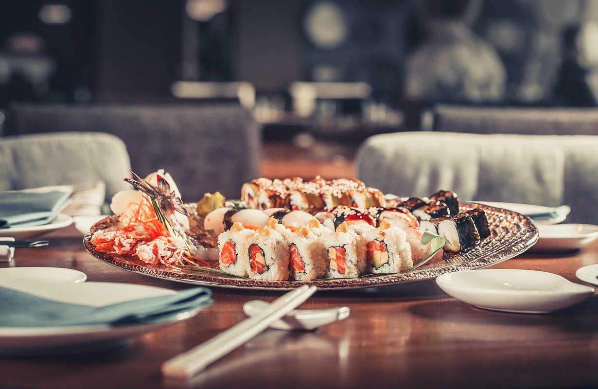 Fresh Japanese sushi with tuna, caviar and shrimps - Atlanta, Georgia