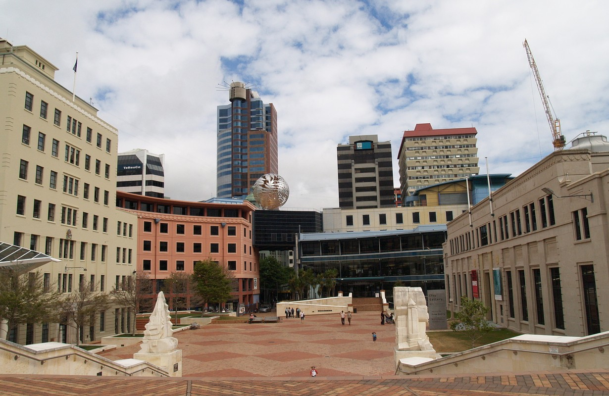 View of the Civic Square in Wellington with the City Gallery