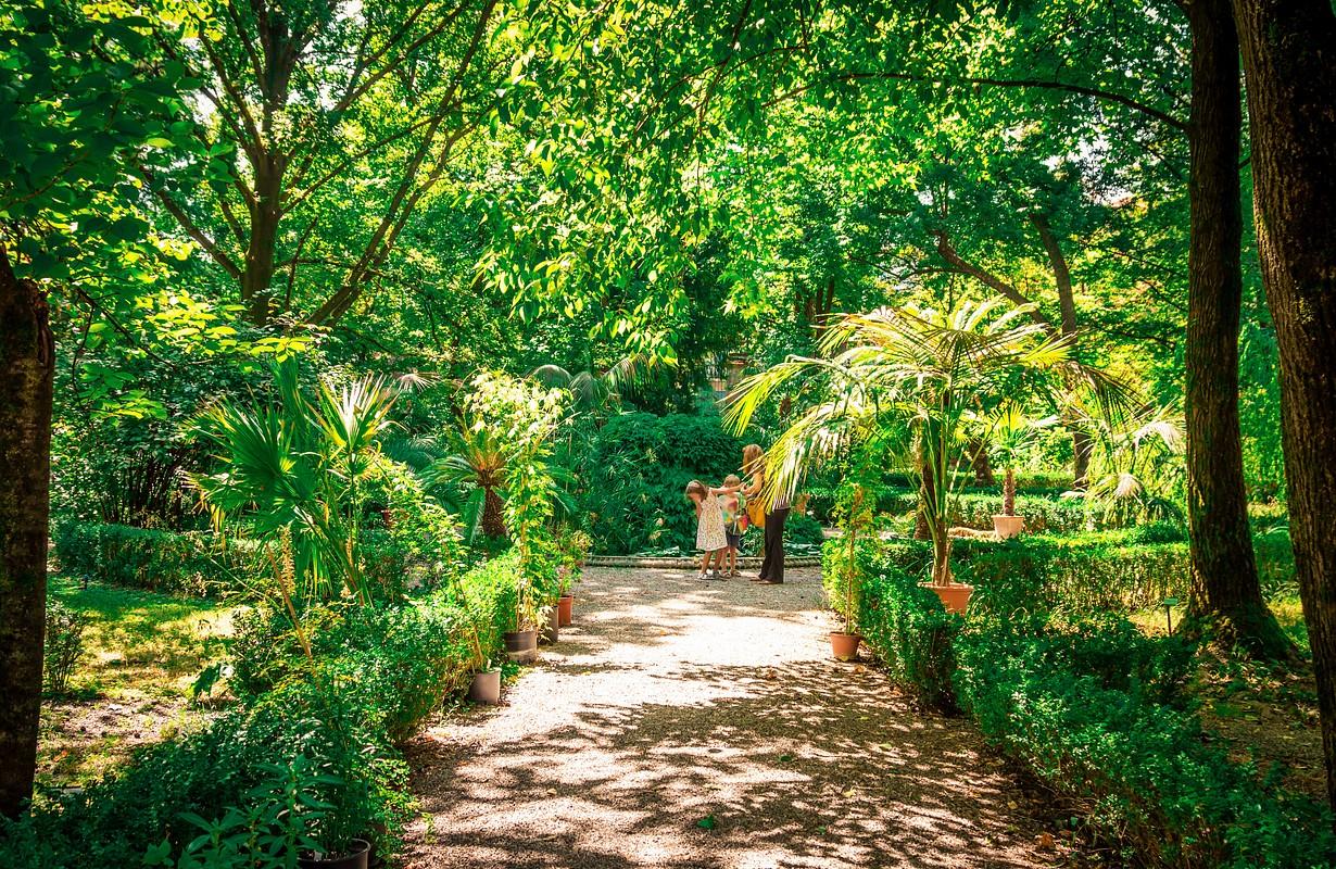 Old historical botanical garden in Parma, Emilia-Romagna, Italy.