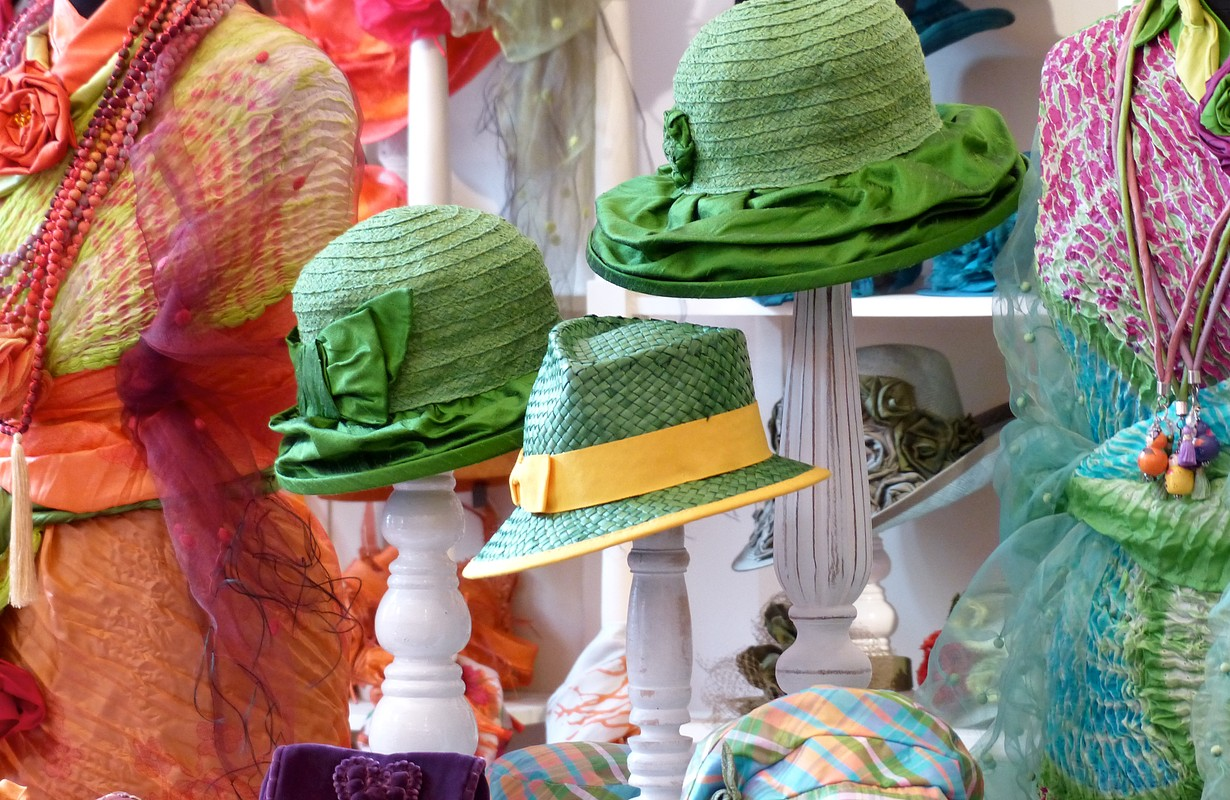 Colorful hats and dresses at a San Diego boutique, USA