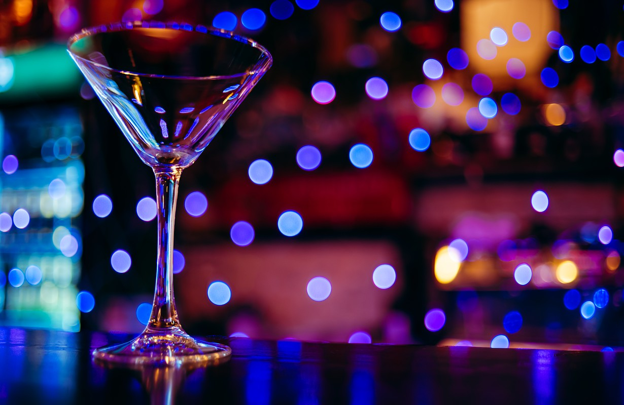 cocktail glass in night club