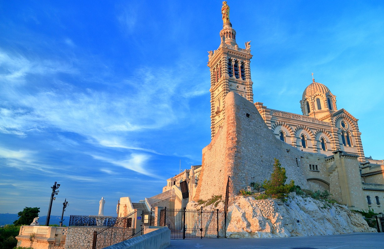 Sunset light illuminates the Church Notre Dame de la Garde, Marseille, France