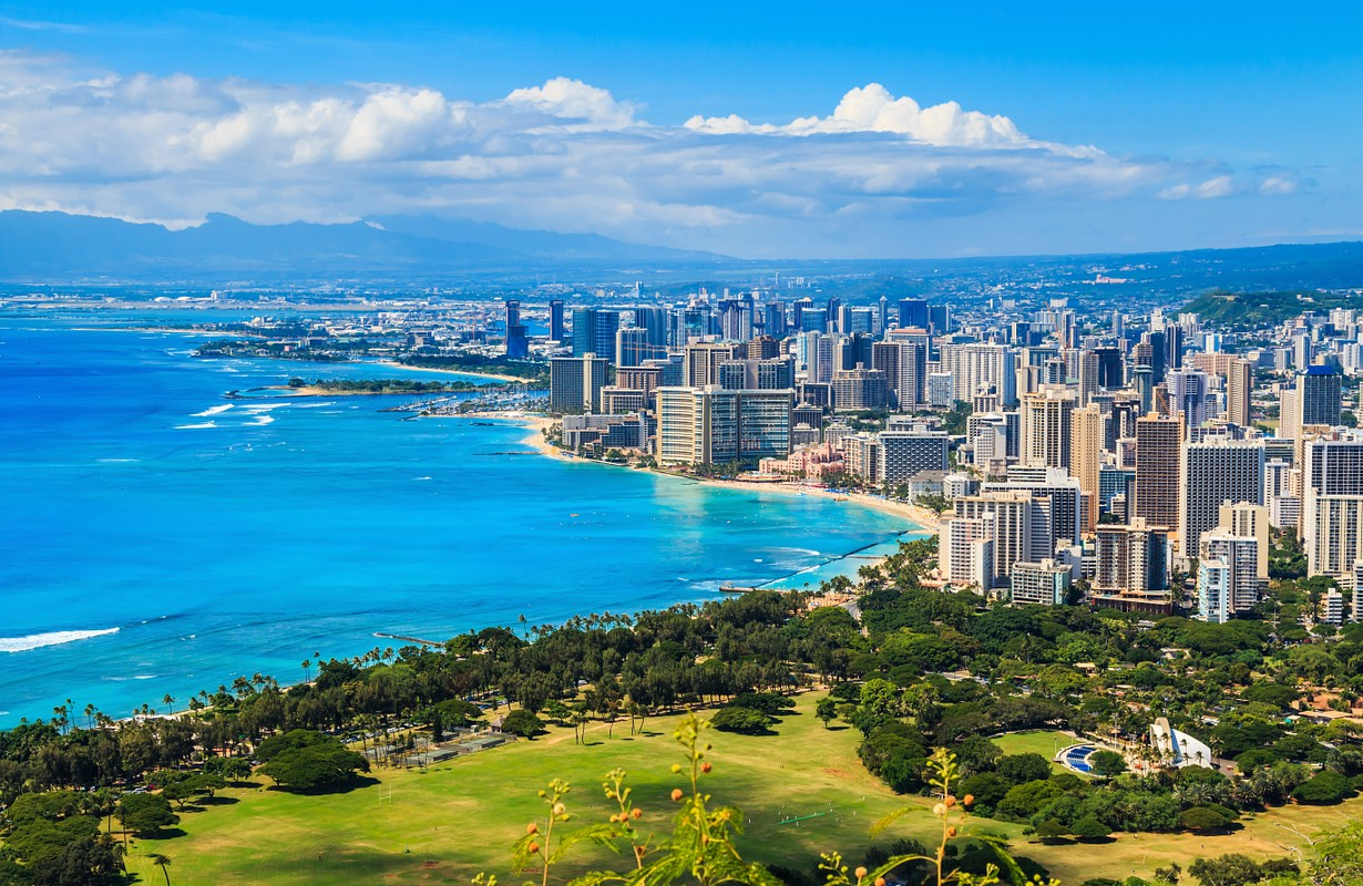 Skyline of Honolulu at Oahu