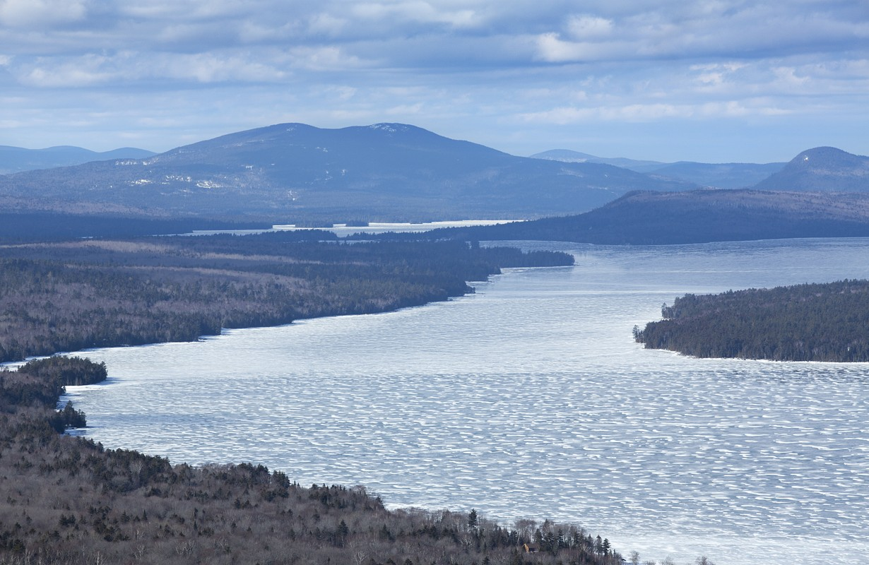 View of Mooselookmeguntic Lake in the winter, from the height of land in Rangeley, Maine.