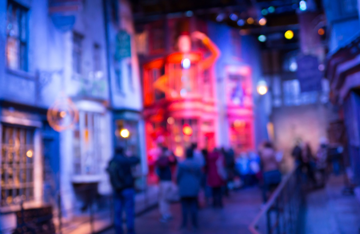 Blurred image of Diagon Alley from Harry Potter film. Produced in Warner Brothers Studio. London
