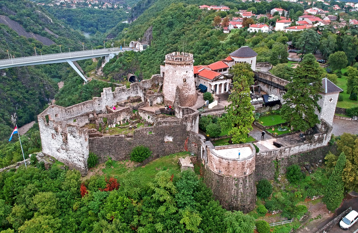 Aerial view of Trsat castle near Rijeka, Croatia